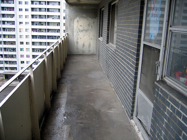 a balcony just after being cleaned from pigeon droppings
