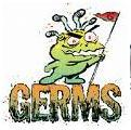 a germ cartoon character standing on the word germ with a flag in victory